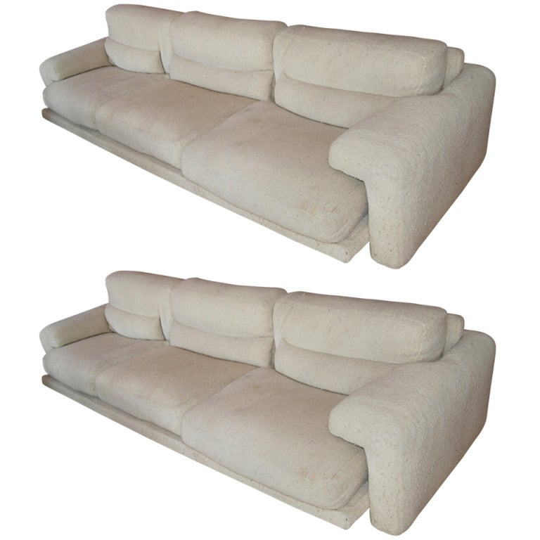 Fabulous Pair Of Low Profile Saporiti Midday Sofas At 1stdibs