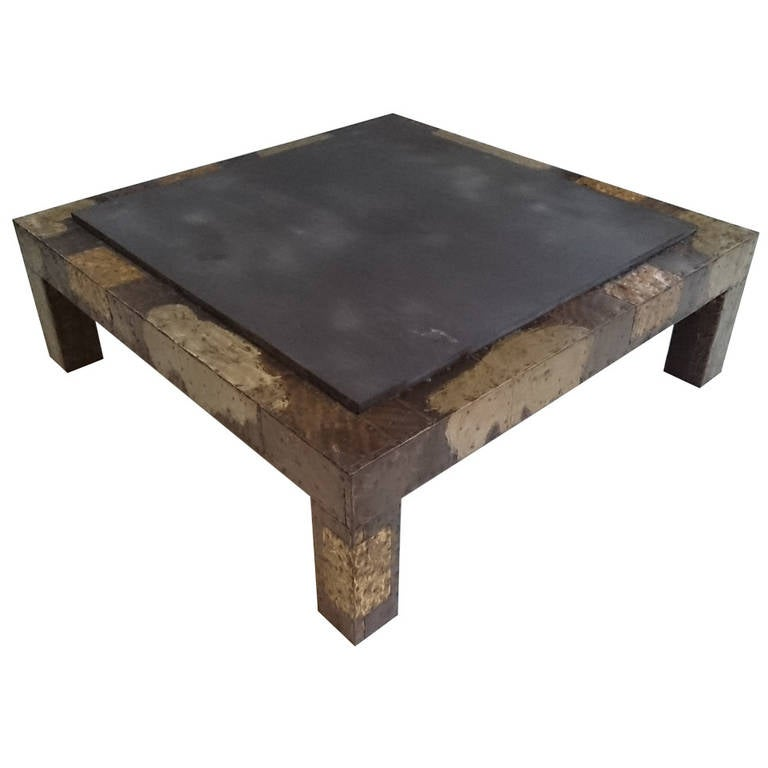 Paul Evans Patchwork Metal And Slate Cocktail Table At 1stdibs