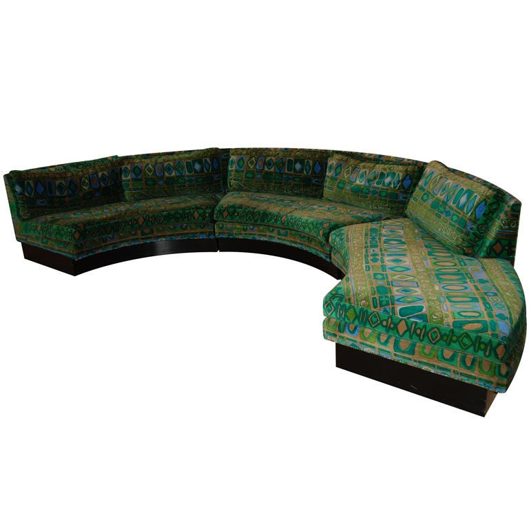 Milo Baughman Sofa With Jack Lenor Larsen Fabric At 1stdibs
