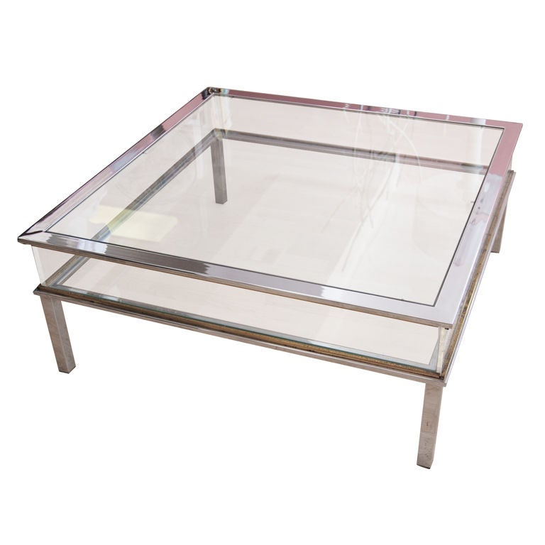 chic square coffee table with glass and lucite sides at. Black Bedroom Furniture Sets. Home Design Ideas