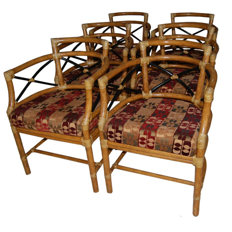 Superb Set Of Vintage Mcguire Dining Chairs at 1stdibs