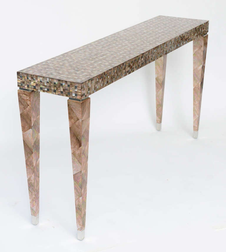 Stunning Tessellated Mother Of Pearl And Nickel Console Table 2