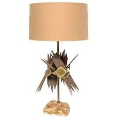 Brutalist Brass Table Lamp by Bijan