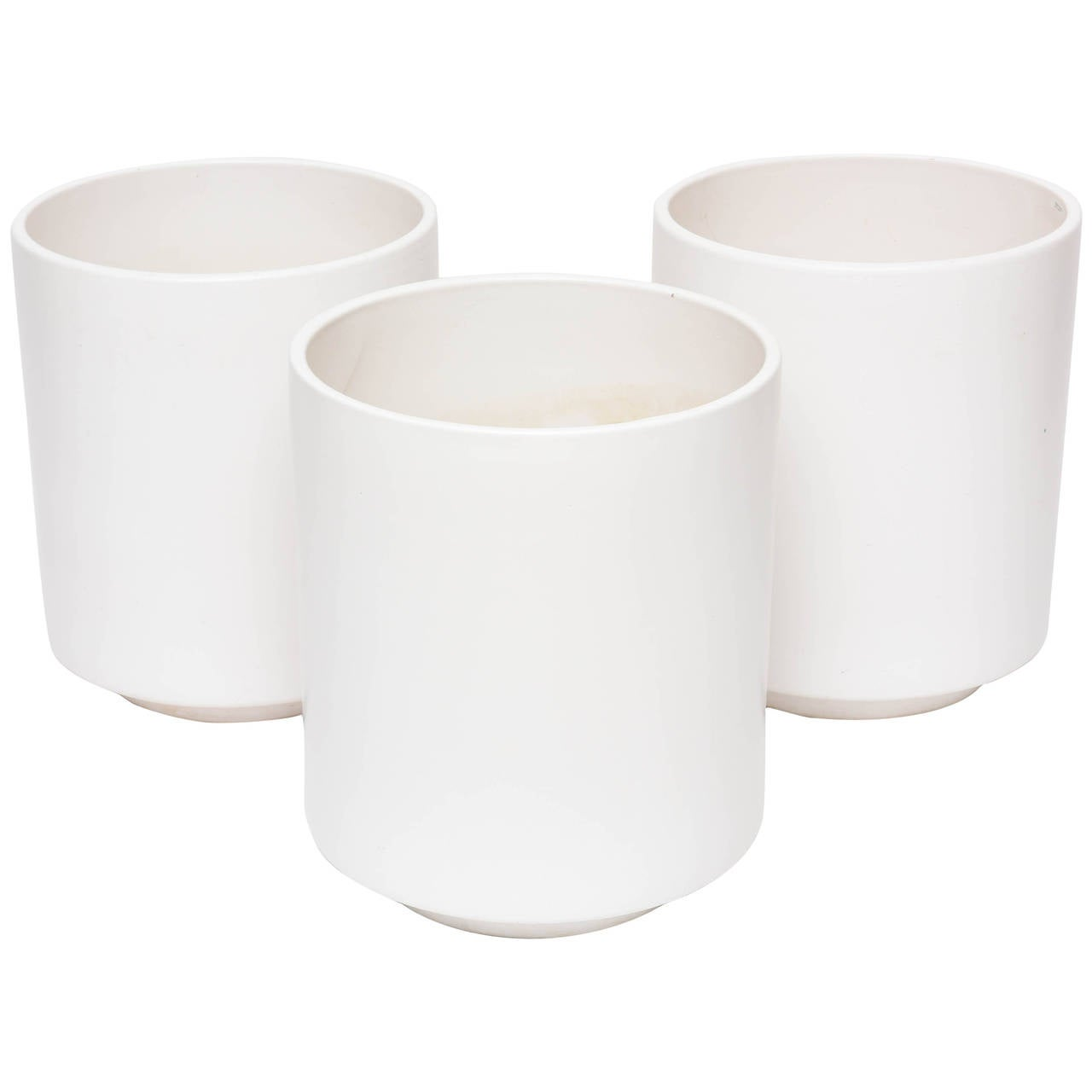 Three Large Scale Matte White Planters By Gainey Ceramic