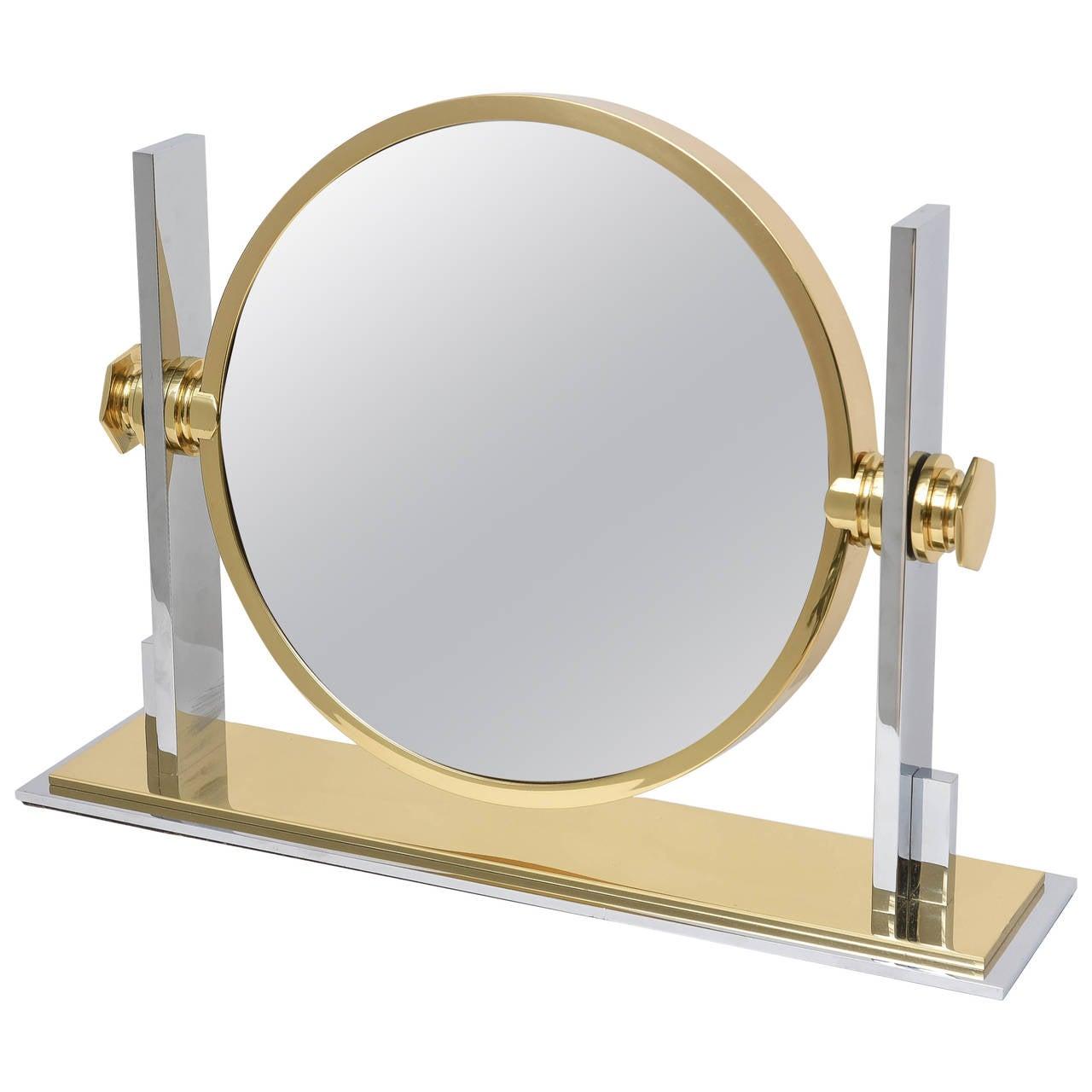 Karl springer chrome and brass vanity mirror for sale at for Vanity table and mirror for sale