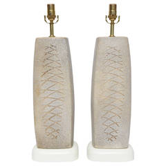 Tall Pair of 1950s Japanese Studio Pottery Lamps