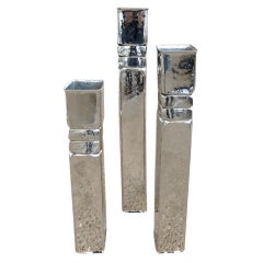 Set of 3 Tall Differentiated Heights of Nickel Silver Vase/Vessels