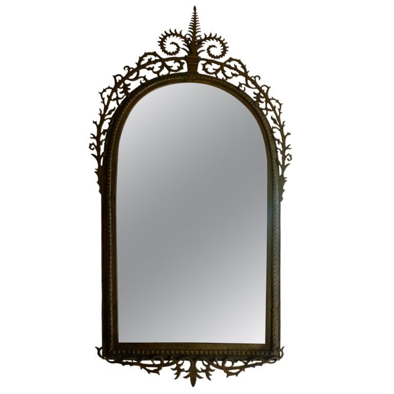 Fabulous Oscar Bach Bronze Mirror at 1stdibs