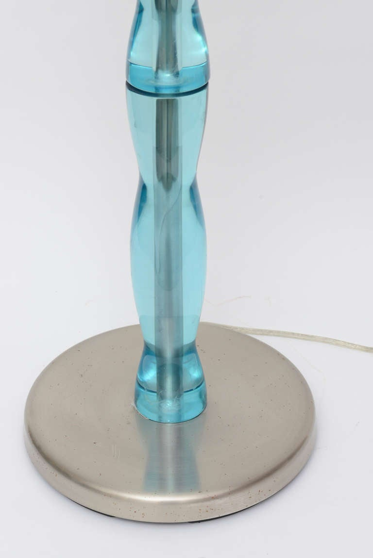 Pair Of Turquoise Resin And Stainless Steel Standing Floor