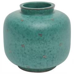 Swedish, Gustavsberg Argenta Signed Sterling Silver Overlay Ceramic Vase / SALE