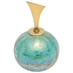 Tiffany Style Favrile Glass Irredescent Glass Ball with Brass Stopper