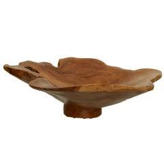 Magnificent Asian Teak Wood Sculptural Monumental Bowl