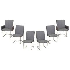 Set of 6 Milo Baughman Sculptural Box Chrome Dining Chairs