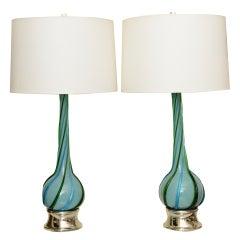 Pair of Italian Murano Swirled Glass Lamps