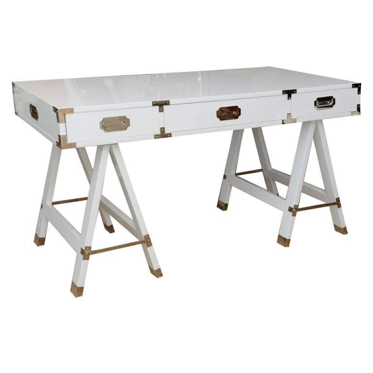 White Lacquered And Nickel Silver Campaign Desk At 1stdibs