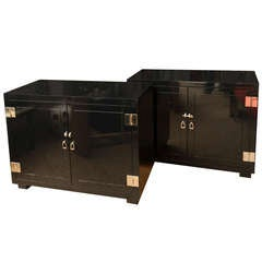 Pair of Black Lacquered and Nickel Silver Commodes/Cabinets/Night Stands /SATURDAY SALE