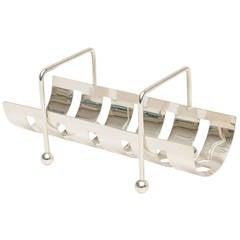 Italian Modernist Silver Plate Baguette Holder