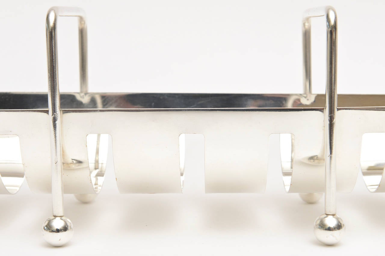 Modernist Silver Plate Baguette Holder Serving Piece Italian For Sale 3