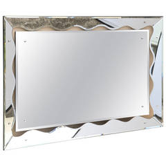 Hollywood Regency Monumental Scalloped Horizontal Mirror