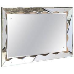 Hollywood Regency Monumental Scalloped Horizontal Mirror