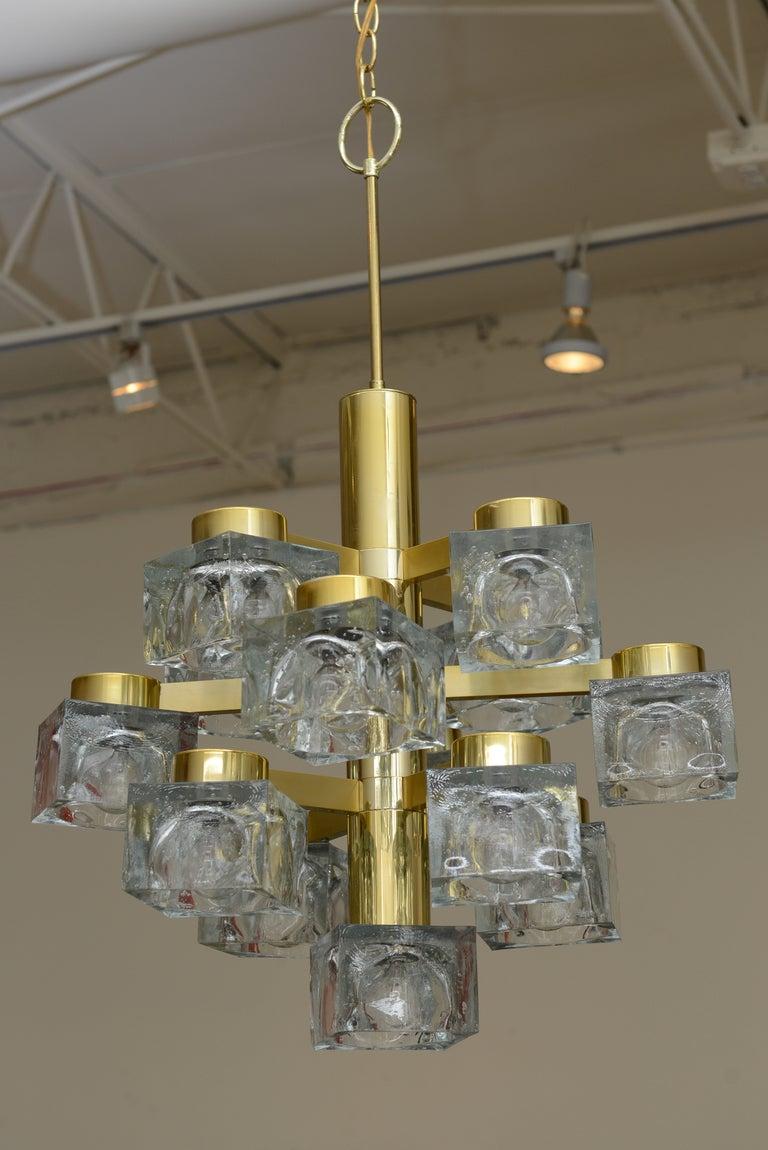 Italian large gaetano sciolari brass and cube glass chandelier for italian large gaetano sciolari brass and cube glass chandelier 2 mozeypictures Images