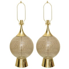 Pair of Circular Gold & Black Lined Glass Ball and Brass Lamps