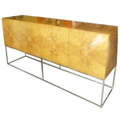Milo Baughman Burled Wood and Chrome Cabinet/Buffet