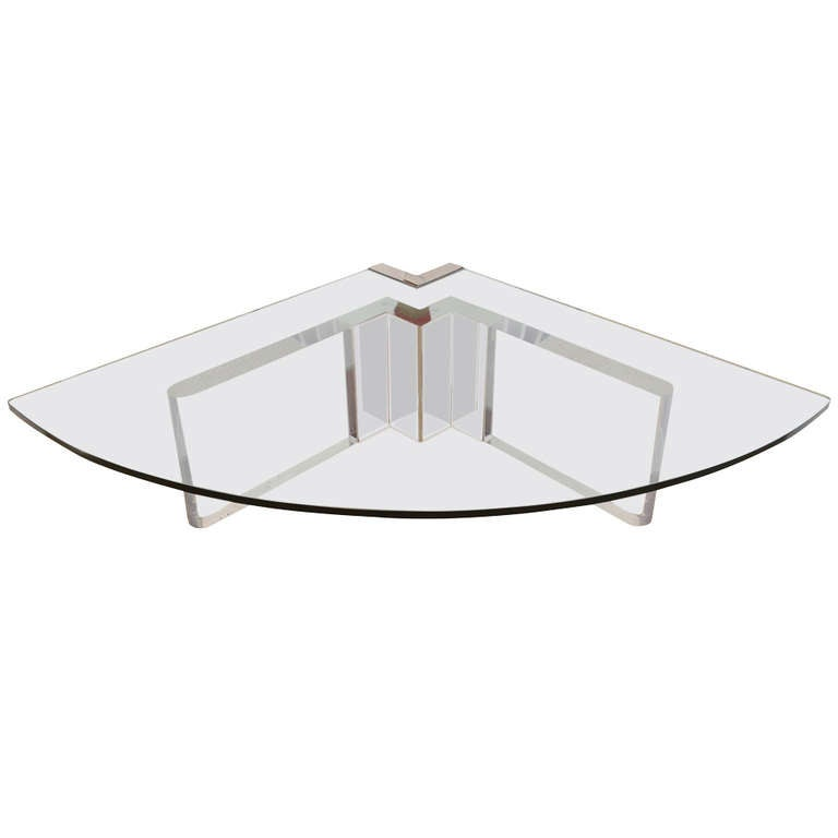 Pace Lucite Stainless Steel And Glass Sculptural 39 Wedge Cocktail Table At 1stdibs