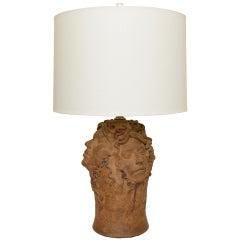 Hallmarked Unusual Medusa Head Studio Pottery Sculpted Lamp
