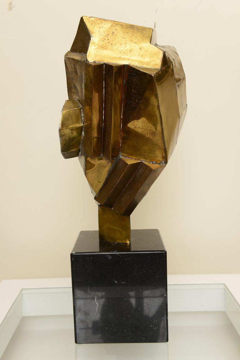 Brutalist Cubist Abstract Brass And Marble Monumental Sculpture Sale At 1stdibs