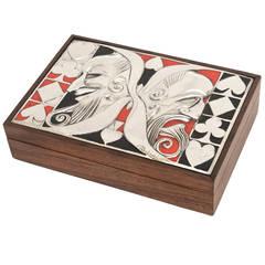 Italian Ottaviani Sterling Silver, Enamel and Wood Card Playing Box