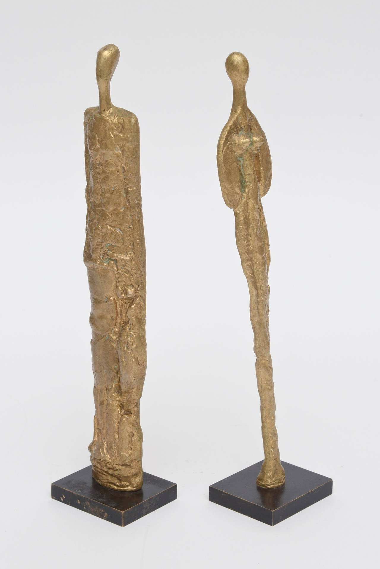 French Giacometti Style Male And Female Heavy Molten Bronze Table Sculptures  In Good Condition For Sale