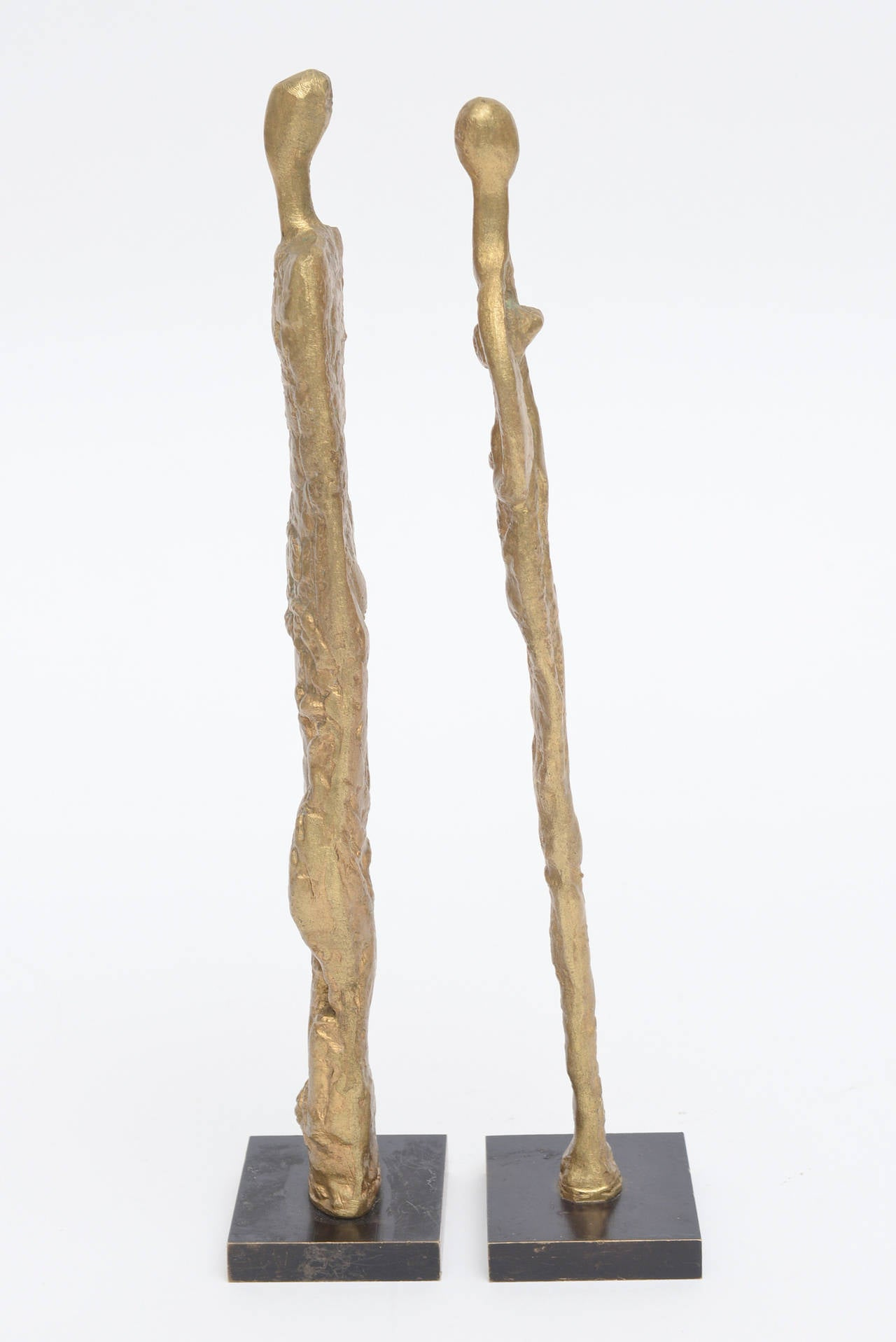Pair of Giacometti Style Bronze Sculptures Mid-Century Modern In Good Condition For Sale In North Miami, FL
