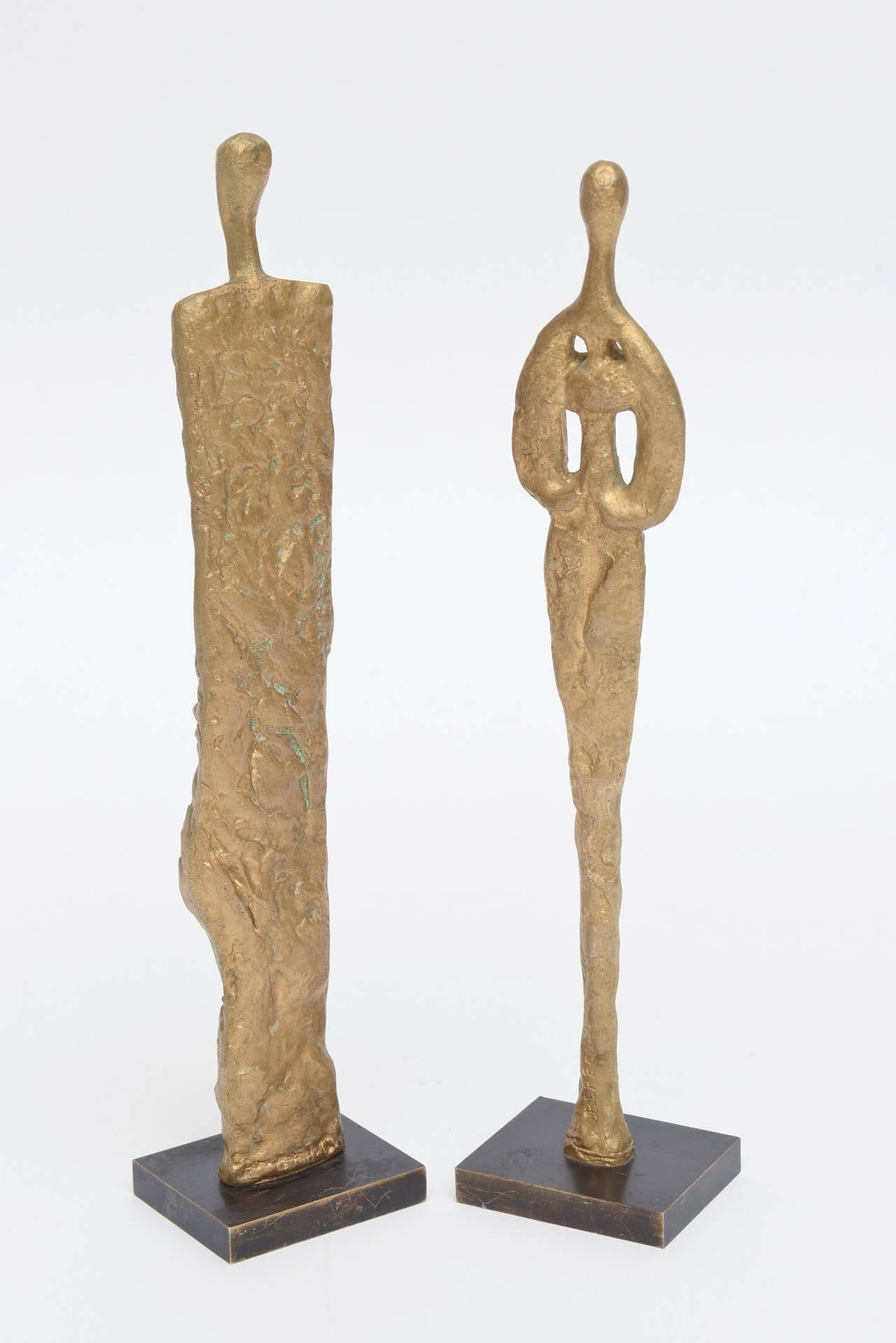 Mid-20th Century Pair of Giacometti Style Bronze Sculptures Mid-Century Modern For Sale