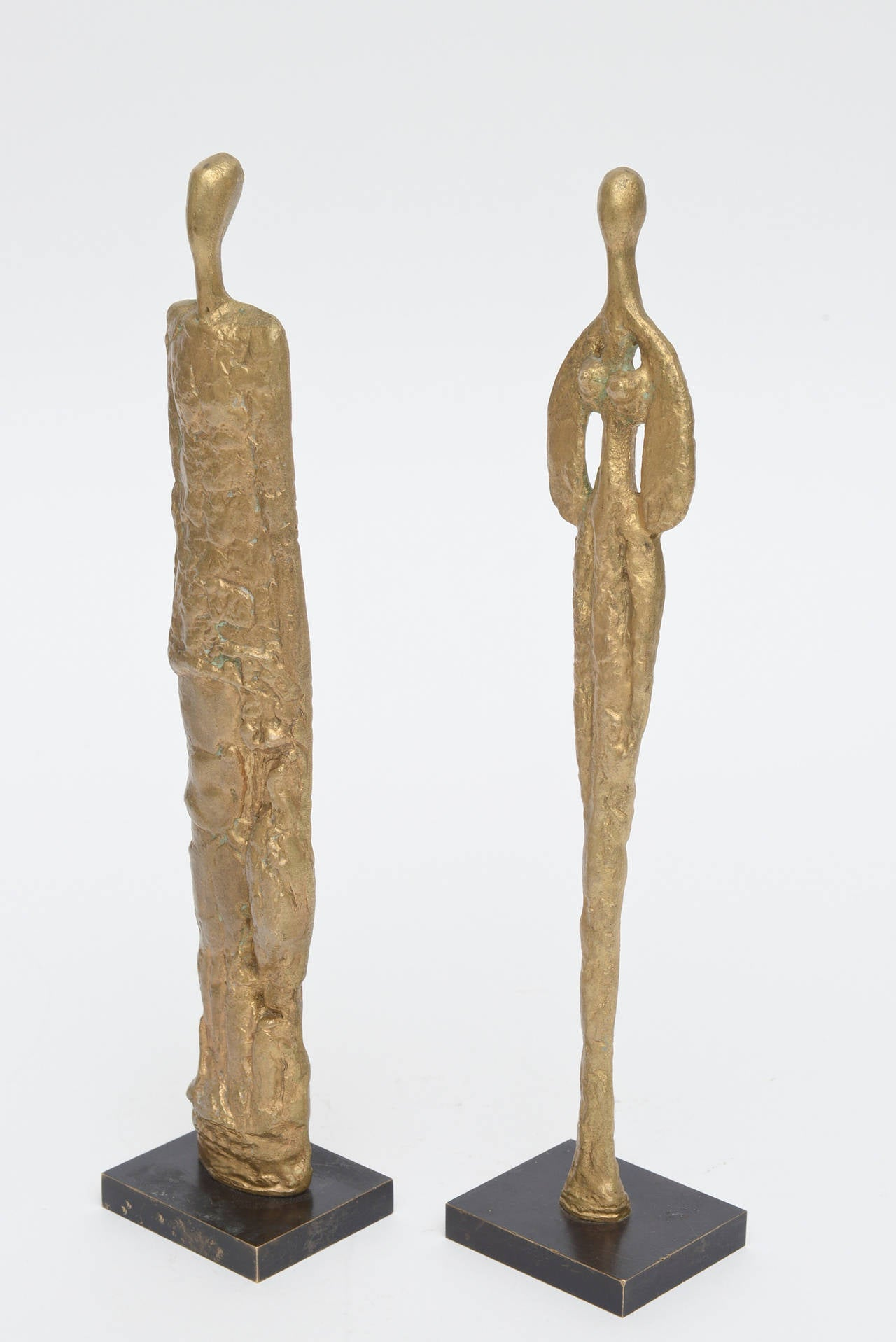 Pair of Giacometti Style Bronze Sculptures Mid-Century Modern For Sale 5
