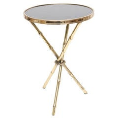 Chic Italian Polished Brass and Granite Faux Bamboo Tripod Side Table