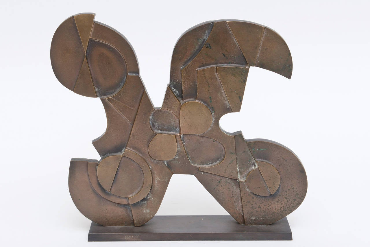 Signed Italian Consagra Abstract, Modernist and Cubist Bronze Sculpture / SALE 4