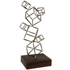 Iron & Brass Cubed Stack Abstract Table Top Sculpture/SAT.SALE