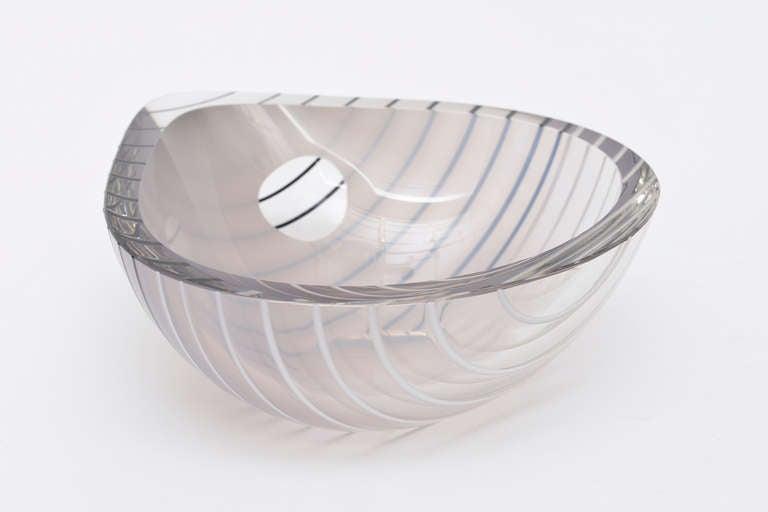 Modern Livio Seguso Murano Gray, white, Black Textured Glass Bowl Vintage