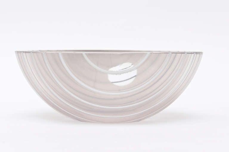 Italian Livio Seguso Murano Gray, white, Black Textured Glass Bowl Vintage