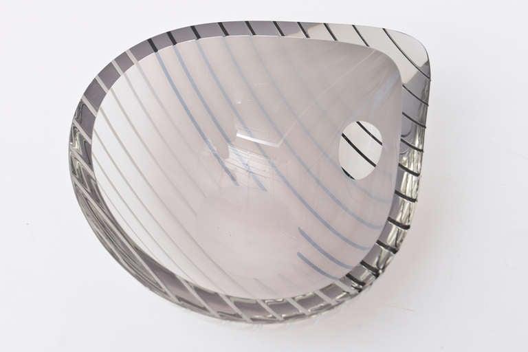 Livio Seguso Murano Gray, white, Black Textured Glass Bowl Vintage In Good Condition In North Miami, FL