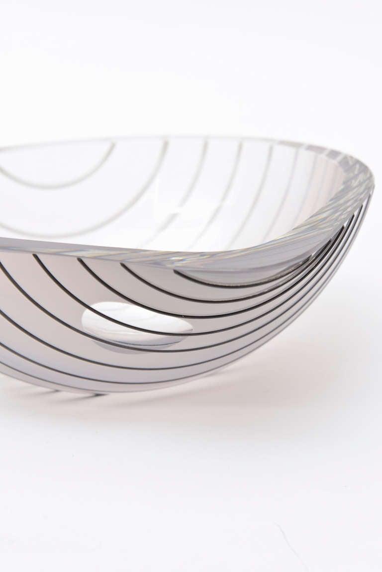 Murano Glass Livio Seguso Murano Gray, white, Black Textured Glass Bowl Vintage