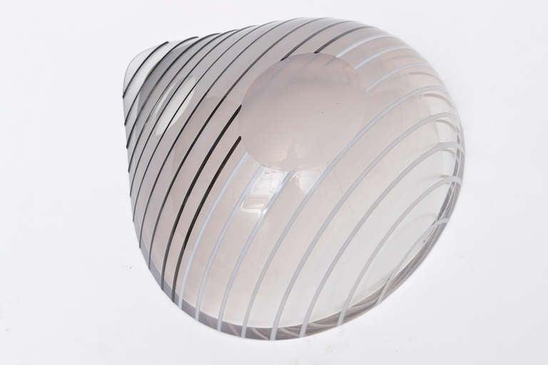 Livio Seguso Murano Gray, white, Black Textured Glass Bowl Vintage 1