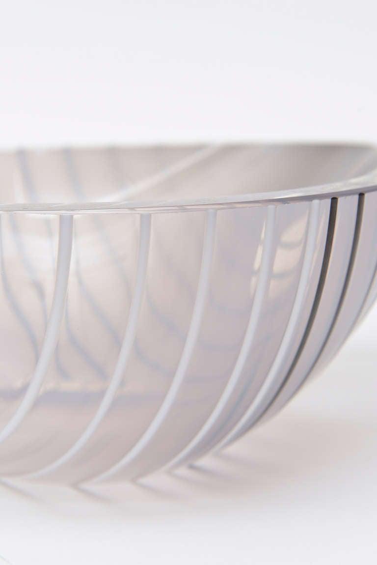 Livio Seguso Murano Gray, white, Black Textured Glass Bowl Vintage 2