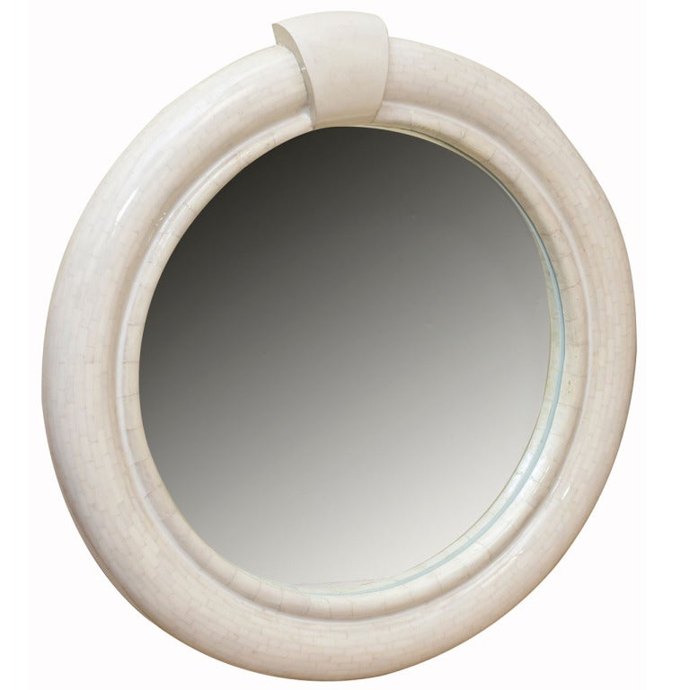 Karl Springer Style Lacquered Goatskin and Bone Round Mirror