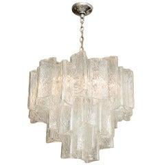 Italian Murano Textured Glass Pendant Chandelier