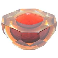 Italian Murano Mandruzzato Diamond Faceted Flat Cut Sommerso Geode Bowl
