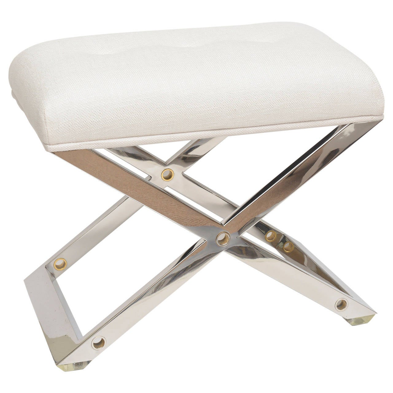 Chic Karl Springer Style Chromed Steel Brass And Upholstered X Framed Bench At 1stdibs