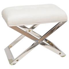 Chic Karl Springer Style Chromed Steel, Brass and Upholstered X-Framed Bench