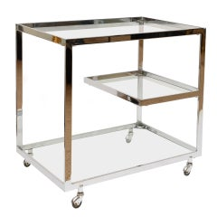 Italian Chrome and Glass 3 Tiered Bar/ Serving Cart